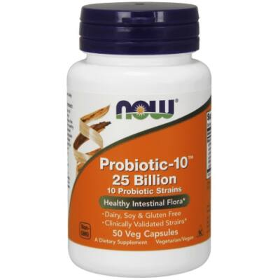 NOW Probiotikum 25 Mill, 50 db - Probiotic-10™ 25 Billion - 50 Veg Kapszula