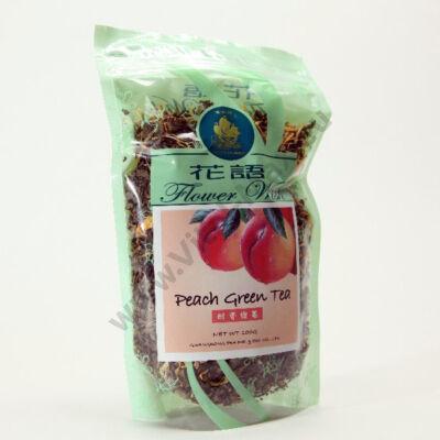 Szálas zöld tea barack virággal