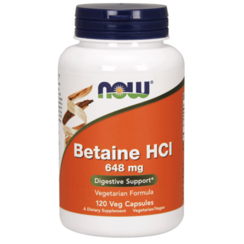 Now Betaine HCl 648 mg - 120 Veg Capsules